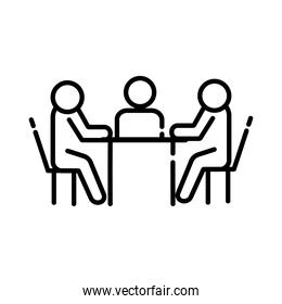 teamworkers in table coworking line style icon