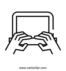 hands using laptop line style icon