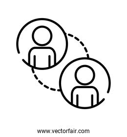 teamworkers figures with lines coworking line style icon