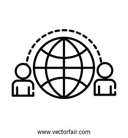 teamworkers with sphere browser coworking line style icon