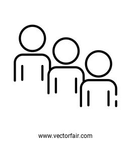teamworkers figures coworking line style icon