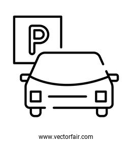 car and parking signal line style icon