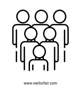 teamworkers figures group coworking line style icon