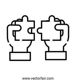 hands with puzzle game pieces line style icon