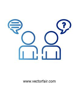 teamworkers figures with speech bubbles coworking gradient style icon