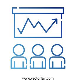 teamworkers figures with statistics coworking gradient style icon