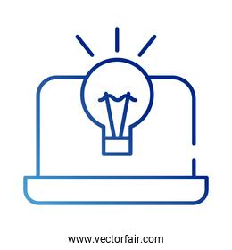 laptop with bulb gradient style icon