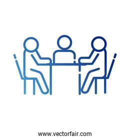 teamworkers in table coworking gradient style icon