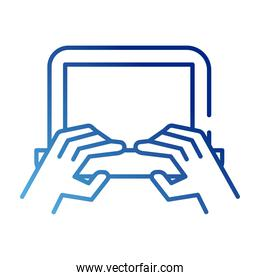 hands using laptop gradient style icon