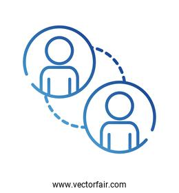 teamworkers figures with lines coworking gradient style icon