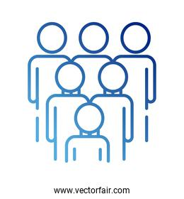 teamworkers figures group coworking gradient style icon