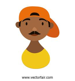 man with cap character national hispanic heritage flat style icon