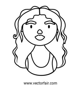 woman character with long hair national hispanic heritage line style icon