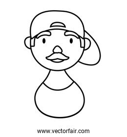 man with cap character national hispanic heritage line style icon