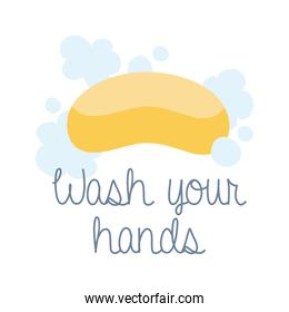 wash your hands campaign lettering with soap bar flat style