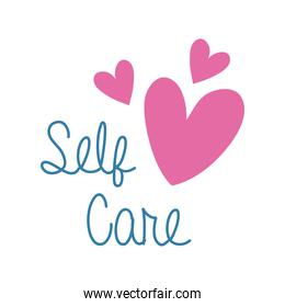 self care campaing lettering with hearts flat style