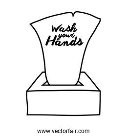 wash your hands campaign lettering with damp cloths line style