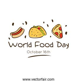 world food day celebration lettering with delicious fast food flat style