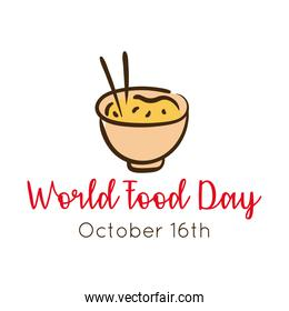 world food day celebration lettering with chinese rice flat style