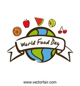world food day celebration lettering with earth planet and fruits flat style