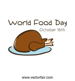 world food day celebration lettering with turkey flat style