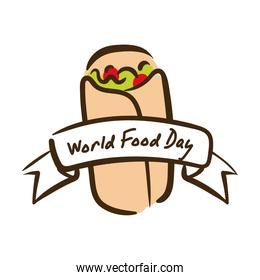 world food day celebration lettering with mexican burrito flat style