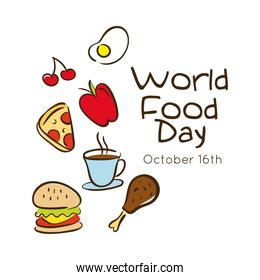 world food day celebration lettering with set fast food flat style