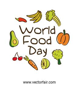 world food day celebration lettering with fruits and vegetables flat style