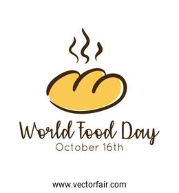world food day celebration lettering with bread flat style