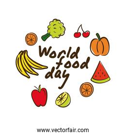 world food day celebration lettering with vegetables and fruits flat style