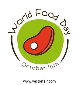 world food day celebration lettering with steak beef flat style