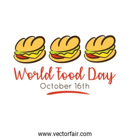 world food day celebration lettering with sandwich flat style