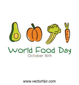 world food day celebration lettering with vegetables flat style