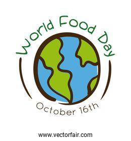 world food day celebration lettering with earth planet flat style
