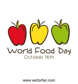 world food day celebration lettering with apples flat style