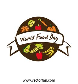world food day celebration lettering with healthy food flat style
