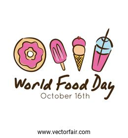 world food day celebration lettering with dessert flat style