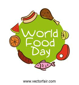 world food day celebration lettering with healthy food around flat style