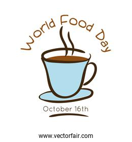 world food day celebration lettering with coffee cup flat style