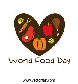 world food day celebration lettering with healthy food in heart flat style