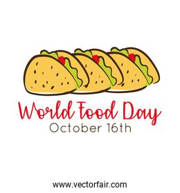 world food day celebration lettering with tacos mexican flat style
