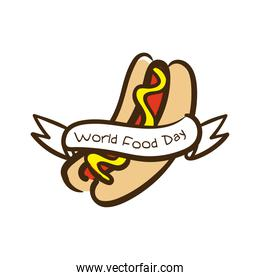 world food day celebration lettering with hot dog flat style