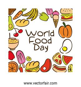 world food day celebration lettering with food pattern flat style