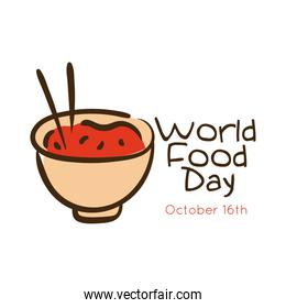 world food day celebration lettering with rice dish flat style