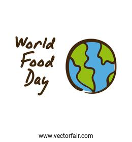 world food day celebration lettering with planet earth flat style