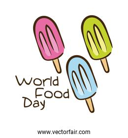 world food day celebration lettering with ice creams flat style