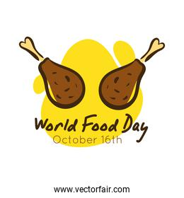 world food day celebration lettering with chicken thighs flat style