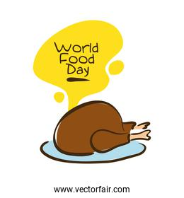world food day celebration lettering with meat turkey flat style