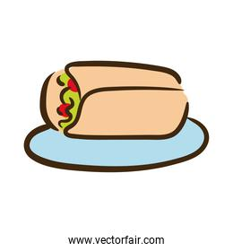 burrito mexican food flat style icon