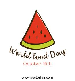 world food day celebration lettering with watermelon flat style